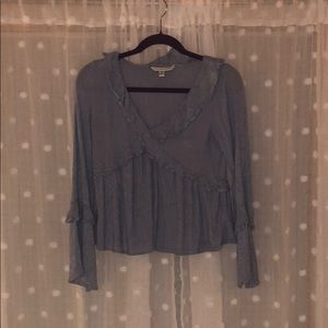American Eagle Blue and White Striped Long Sleeve
